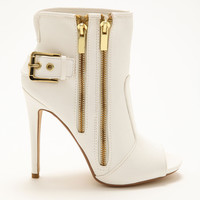 Side Zip Up White Bootie Heels