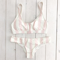 No Worries Stripe Bikini Set Pink Medium