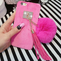 New Winter Hot Fuzzy Candy Color Phone Back Hard Cover With Fur Ball Tassels Phone Case For iPhone 7 For iphone7 Plus YC1302