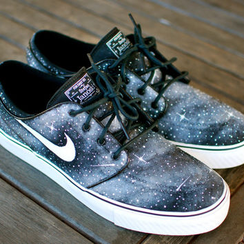 Custom Hand Painted Twilight Zone Black and White Galaxy Nike Stefan Janoski Skate Shoes