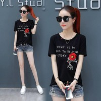 Flower Letter Embroidery Fashion Casual Short Sleeve Shirt Top Tee
