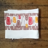 Vintage tablecloth retro table linen 50s linens kitsch dinning brown earthy design home decor Dolly Topsy Etsy UK