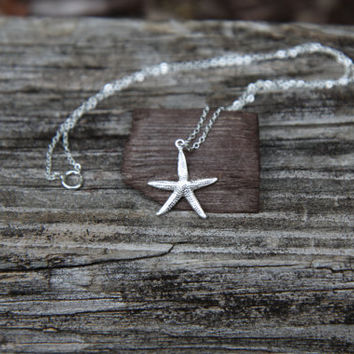 Starfish Necklace - Sterling Silver Starfish Necklace, Star Fish Necklace, Starfish Pendant, Ocean Jewelry - Beach Jewelry - Beach Necklace