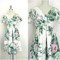 Vintage 1980s Lord and Taylor White Floral Dress Size 4