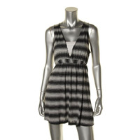 J Valdi Womens Jersey Striped Dress Swim Cover-Up