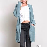 Santa Cruz Open Front Knit Cardigan in Dark Sage