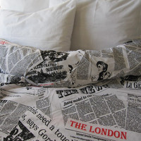 Writing Newspaper print duvet cover - Book bedding - Black white cotton quilt doona cover Twin XL FULL Queen King size bedding Nurdanceyiz