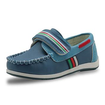 Kids PU Leather Shoes Boys Loafers Soft Sneakers Children Moccasins Boys Casual Boat Shoes Arch Support
