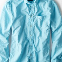 AEO Men's Solid Oxford Button Down Shirt (Turquoise)