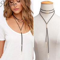 XINYAO Black/White/Brown Layered Long Copper Tube Choker Necklaces For Women Velvet Chocker Necklace Collares Largos F6158