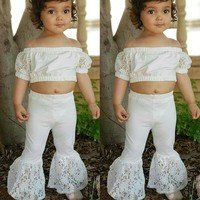 US Baby Girl Kids Summer Toddler Outfits Clothes Lace Tops+Flared Pants 2PCS Set