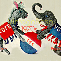 Democratic Donkey and Republican Elephant 70s Vintage KNITTING Pattern 2016 Presidential Elections - PDF Pattern - INSTANT Download
