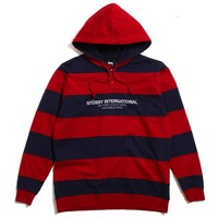 Hooded Stripe Rugby Red / Navy