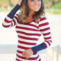 Burgundy Long Sleeve Striped Top With Buttons