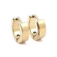 1 Pair Cool Mens Stainless Steel 3 Colors Black Sliver Gold Huggie Hoop Earrings mujer argollas Small Round Loop Circle Earrings