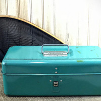 Vintage Old Metal Green Fishing Tackle Utility Tool Box - Liberty Steel- Gift for Him- Gift for Her- Christmas Present- Gift Under 50
