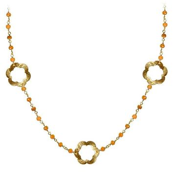 """CHG-199-CN-18"""" 18K Gold Overlay Necklace With Carnelian"""