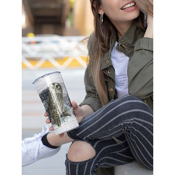 Wood Owl Tumbler With Stainless Steel Straw Skinny Tumbler Gorgeous Illustrated Owl Gift Idea Travel Mug Cold Hot Vacuum Lid