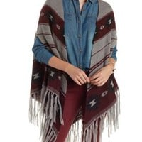 Gray Combo Fringed Striped Blanket Cardigan by Charlotte Russe