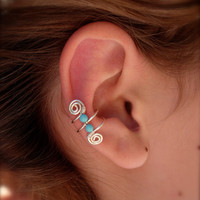 Single Silver Plated Ear Cuff with Double Turquoise 3mm beads and swirls