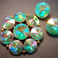 WEISS Rivoli AB Brooch Earring Set, Rainbow Colors, Gold Plated, Vintage