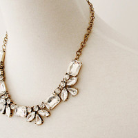 Clear Rectangular and Oval Crystal Jeweled Statement Necklace