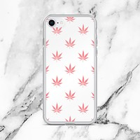 iPhone Peach Coral Cannabis Print Case