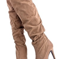 SAND VELVET SLOUCHY SCRUNCHED KNEE HIGH HEEL BOOTS