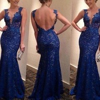 Women's V-neck Backless Lace Long Maxi Dress Cocktail Evening Party Formal Dress