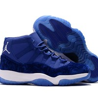 Air Jordan Retro 11 Velvet Blue Flowers Pattern Basketball Shoes Men Women 11s Royal Blue Velvet Flower Sneakers High Quality With Shoes Box