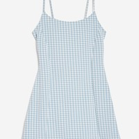 Gingham Mini Pinafore Dress