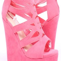 CORAL FAUX SUEDE STRAPPY CUTOUT OPEN TOE PLATFORM WEDGE HEELS