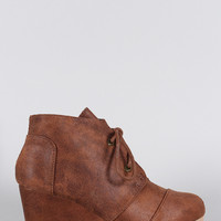 Qupid Patch Work Wedge Booties