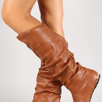 Leatherette Slouchy Metallic Accent Knee High Boot