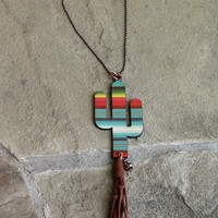 Long Copper Beaded Necklace with Serape Cactus and Brown Tassel