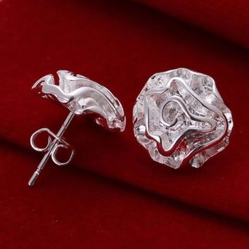 Silver Plated Jewelry Floral Rose Ear Stud Fashion Earrings