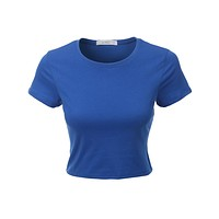 Short Sleeve Cotton Crop Top with Stretch (CLEARANCE)
