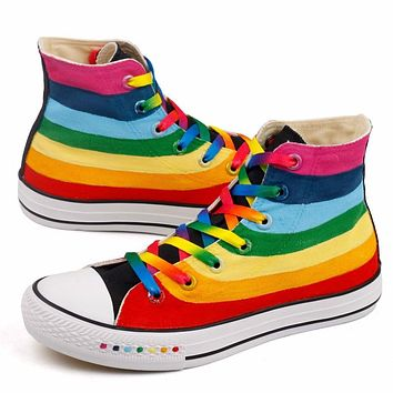 CINESSD Rainbow Canvas Shoes Women Sneakers Platform Hand Painted New 2020 Spring Casual Shoes Woman Chunky Sneakers Women Flat