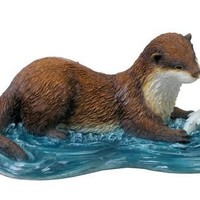 Otter Catching Fish Statue