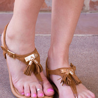 Lucky Tassel Sandals - Tan