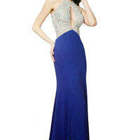 PRIMA 17-8713 Jeweled Sheer Illusion Top Slim Jersey Prom Dress Evening Gown