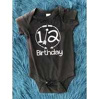 1/2 Birthday Black Onesuit w/ White Lettering
