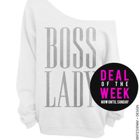 Boss Lady - White with Silver Slouchy Oversized Sweatshirt