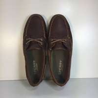 Preloved! Sperry Men's Brown Cross Lace Pull-Up Boat Shoe, Size 10M