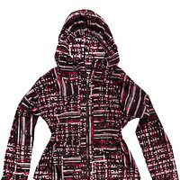 GRAPHIC PLAID PRINTED WOVEN PARKA