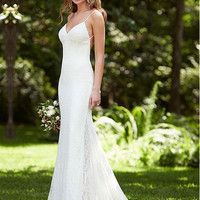 Alluring Tulle And Lace Sweetheart Spaghetti Straps Neckline Sheath Wedding Dresses With Appliqued Lace Bride Dresses