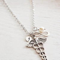 rn graduation gift, nurse gift, caduceus necklace, medical necklace, infinity necklace, personalized jewelry, doctor gift, med school gift