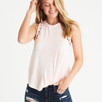 AEO Soft & Sexy Cage-Detail Muscle T-Shirt, Peach