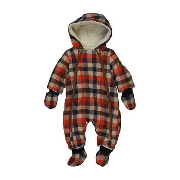 Catimini - Baby Boy Orange Plaid Winter Coverall