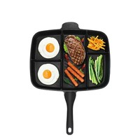 Pan Fry Non Stick Ply Skillet Professional Frying 5in1 Fry Divided Grill Kitchen